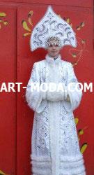 Костюм Снегурочка с высоким кокошником  (От 10 000 рублей)