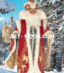 Костюм Дед Мороз царский красный с кафтаном