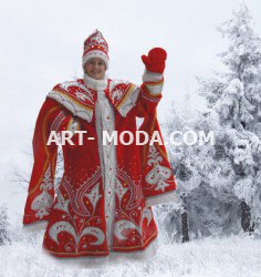 Костюм Дед Мороз красный с боярским рукавом